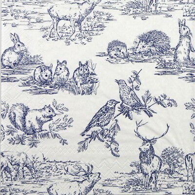 4x Paper Napkins for Decoupage Decopatch Craft Woodland animals