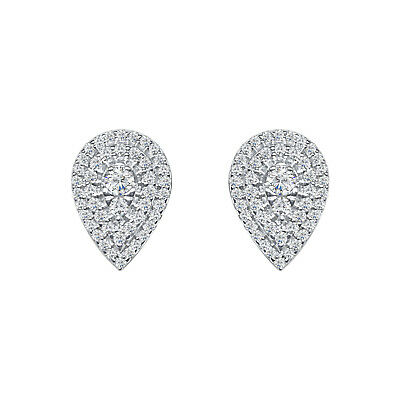 .50 Ct Round Cut Diamond Cluster Stud Earrings For Womens In 14k White Gold Over