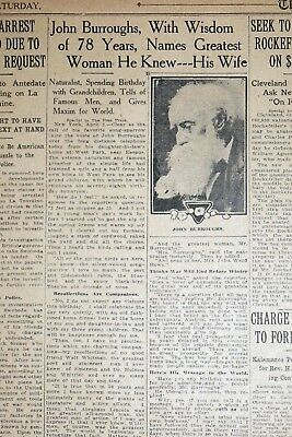 Naturalist John Burroughs Celebrates 78th Birthday - 1915 Detroit Newspaper Page