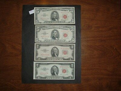 $5 & $2 Red Seal Notes--- 4 Notes -2- $5 1963, & 2 $2 1953.  Good Notes