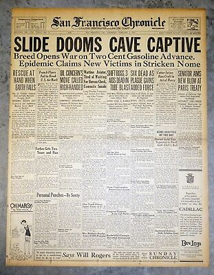 1925 Front Page- Slide Dooms Kentucky Crystal Cave Victim Floyd Collins