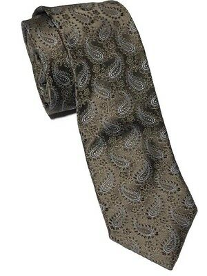 "Hugo Boss Men's Bronze Paisley 100% Silk Necktie 57""L X 3.5""W - Made in Italy"