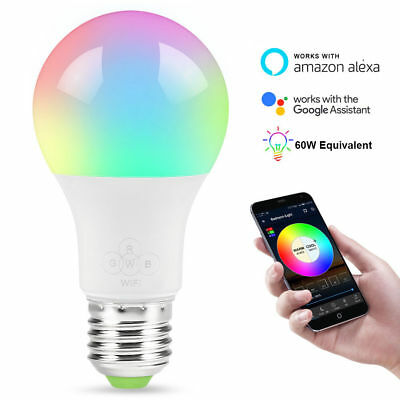 5x LED Smart Bulb 800 Lumens Wireless WiFi Remote Control Light Alexa GoogleHome