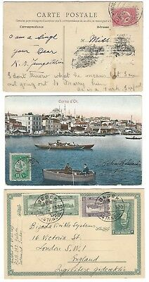 TURKEY selection 3x early postally used postcards/postal stationery, cancels