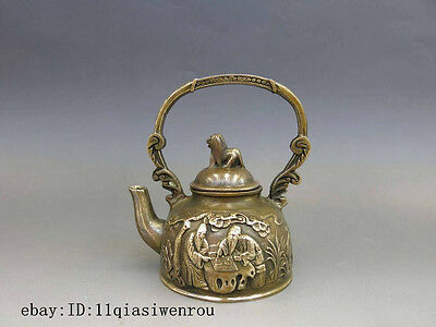 Chinese Brass Copper Carven Dog 2 Old Man chess pattern water teapot teakettle