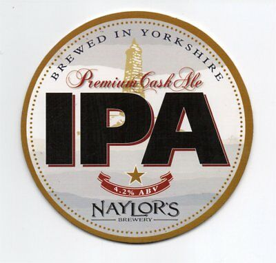 Beer pump clip front. Naylor's Brewery, I.P.A. Premium cask ale.