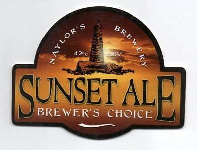 Beer pump clip front. Naylor's Brewery, SUNSET ALE, Brewers choice