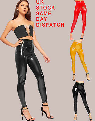 Vinyl Wet Look High Shiny Leggings Ladies Pvc Women Disco Pant Skinny Trousers