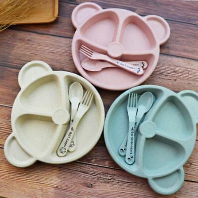 Non-Toxic Children's Wheat Straw Partition Plate Bear Tableware With Fork/Spoon