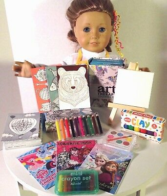 """Apron & Art Supplies for American Girl Doll 18"""" Accessories Fit Creative SET"""