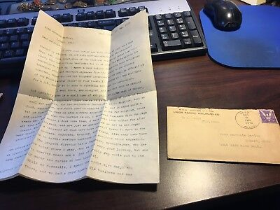 VINTAGE  LETTER CORRESPONDENCE Union Pacific RR Japanese relocation