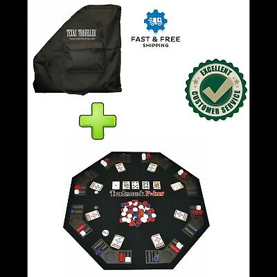 Folding Poker Table Top Texas Holdem Blackjack Casino Octagon 8 Players Portable