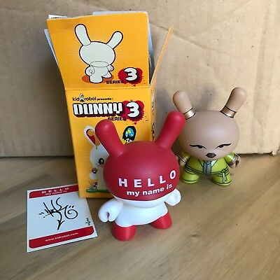 "*RARE* Two (2) Dunny Lot. 3"" DUNNY HUCK GEE HELLO MY NAME IS SERIES 5. KIDROBOT"