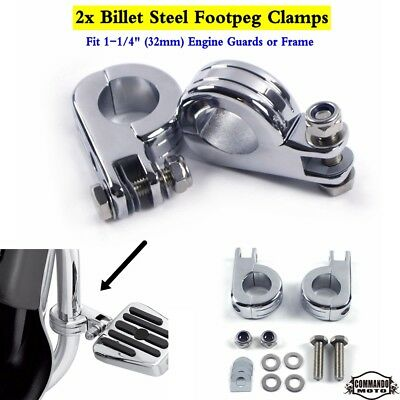 """Pair Motorcycle Footpeg Clamps w/Hardware For 1-1/4"""" Engine Guards / Frame New"""