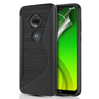 Carbon Fibre Silicone Gel Phone Case Cover & Screen Protector For Various Phones