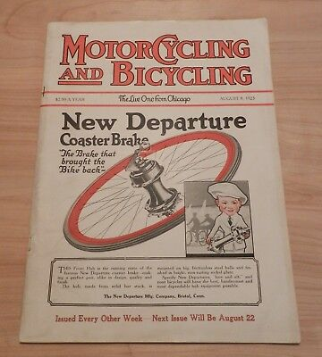 """Vintage Magazine - Motorcycling and Bicycling """"The Live One from Chicago"""" - Augu"""