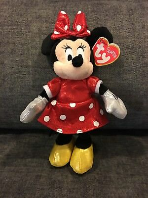 8f7277fdc94 Ty DISNEY MINNIE MOUSE Red Sparkle Dress Beanie Baby - MINT with NEAR MINT  TAGS