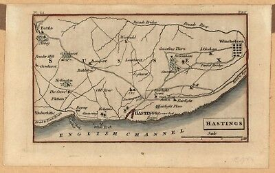 Vintage 1810 Hand-Colored Map Of Hastings England - Small And Lovely!