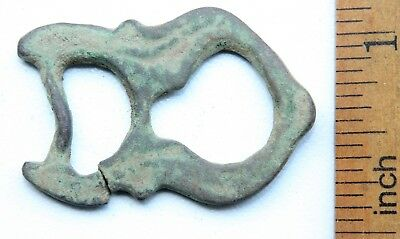 Ancient Old Bronze Ornament Decorated Buckle (JUL01)