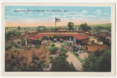 San Diego California c1920's Ramona's Marriage Place, inner court, vintage pc