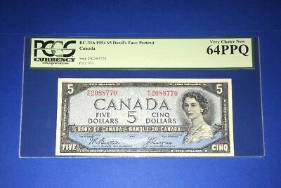 PCGS Currency Graded Bank Of Canada Devils Face Banknote 1954 Pic31b