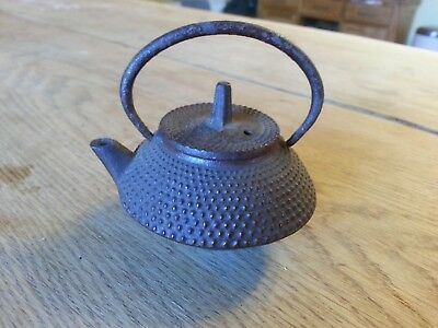 Antique Japanese MINIATURE Tetsubin Teapot 19th C Red Arare Hailstone