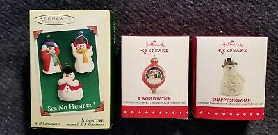Hallmark Snowman Miniatures, Three, 2005, 2015, 2015 MIB