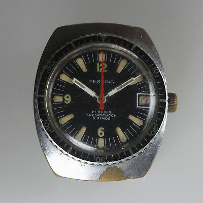 Festina FHF 73-4N Swiss Manual 21Rub Date Mens Divers Spares or Repair
