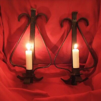 PR Vintage Hand WROUGHT IRON Primitive Candle Sconces High Quality Lovely