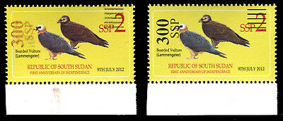 South Sudan - Rejected Printing Trials - 300ssp surcharges on 2 ssp - Rare