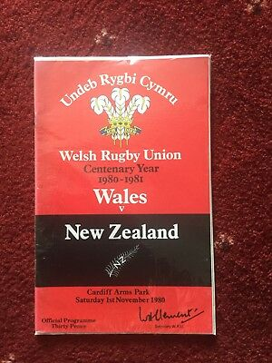 Wales v New Zealand Rugby Union Programme + Ticket, 1980