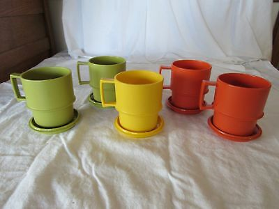 Vintage Tupperware Set 5 Coffee Cup Mugs With Coasters Lids Harvest Colors