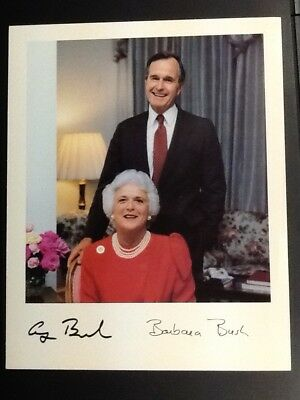 """8"""" by 10"""" Picture of George and Barbara Bush, preowned very nice"""