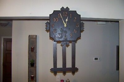 Antique Mission Oak Wall Clock For Repair Or Parts Old