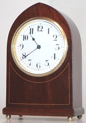 "Antique Inlaid Mahogany French ""h&h"" Gothic Beehive Clock W/ Porcelain Dial."