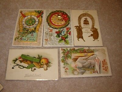 LOT H VINTAGE HAPPY NEW YEARS POSTCARDS large lot of 15 father time symbols