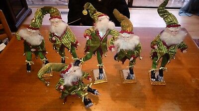 """Mark Roberts Skating Elf Collection - 12"""" Medium ( 6 Total ) with stands"""