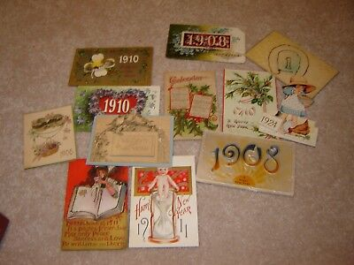 LOT M VINTAGE HAPPY NEW YEARS POSTCARDS large lot of 12 calendar 1906-1932