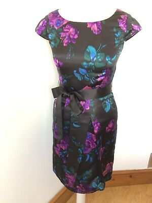 HOBBS NW3 100% Silk Floral Print Occasion Dress Wedding Races Event UK Size 8