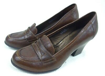 ba51987709c Born Penny Loafers Women s Size 7 38 Brown Leather Slip On Block High Heel  Pumps