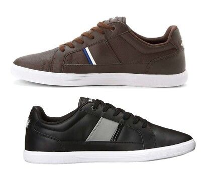 d38877ef278df Lacoste Men s Europa Leather Black Brown Low Top Casual LAce Up Shoes  Sneakers