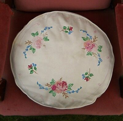 Stunning Vintage Hand Embroidered Floral Cushion....antique