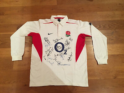 England Rugby Shirt - signed by some of the 2003 World Cup Winning Squad