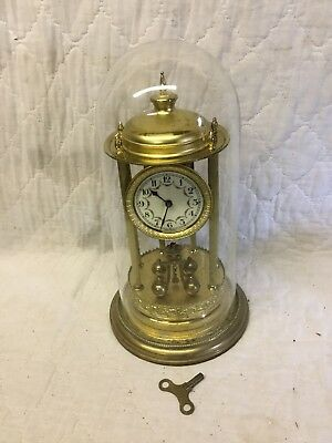 Vintage German Anniversary 400 Day Torsion Clock Tall 6 Column Bandstand Type