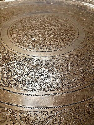 XLarge 30 Inch Vintage Middle Eastern Persian Qajar Serving Tray Chromed Brass