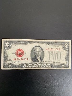 Series Of 1928 G $2 Bill Legal Tender Red Seal Star Note Fr#1508* Circulated