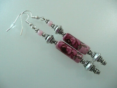 Vintage Art Deco Style Pink Ceramic Tube Long Earrings Prom Party Boho Chic