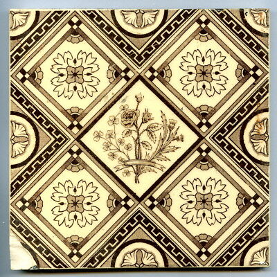 """Transfer printed 6""""sq Victorian tile by TG & F Booth, 1884"""