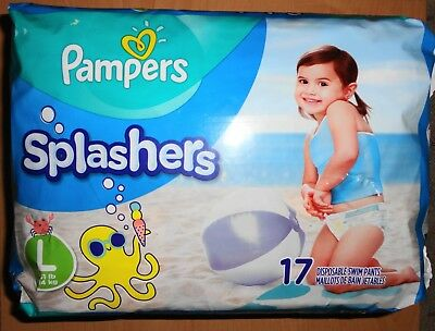 (1) Pack Pampers Splashers Size Large (>31Lb) Disposable Swim Pants Diapers 17Ct