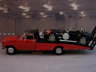 1970 Ford F-350 Ramp Tow Truck + 1965 Shelby Cobra 427 S/c Road Racing Set 1/64